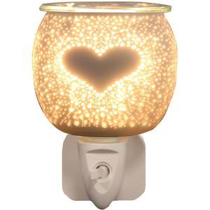 Aroma Electric Wax Melt Burner Plug In - White Satin Burst Heart