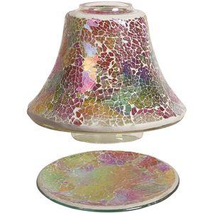 Aroma Jar Candle Shade & Plate Set - Rainbow Crackle