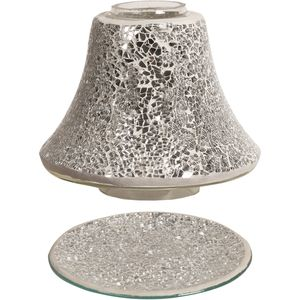 Aroma Jar Candle Shade & Plate Set - Silver Crackle