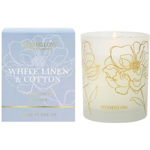 Stoneglow Candles Day Flower Tumbler Candle - White Linen & Cotton