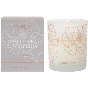 Stoneglow Candles Day Flower Tumbler Candle - White Tea & Wisteria