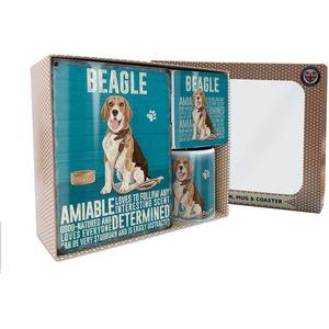 Metal Sign Mug & Coaster Boxed Gift Set - Beagle Dog