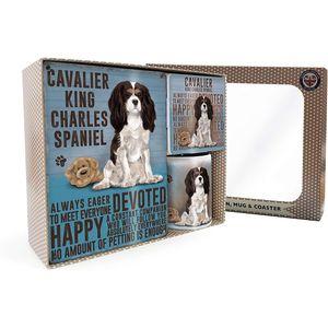 Metal Sign Mug & Coaster Boxed Gift Set - Cavalier King Charles Spaniel Dog