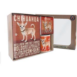 Metal Sign Mug & Coaster Boxed Gift Set - Chihuahua Dog