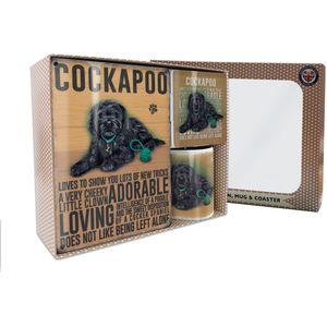 Metal Sign Mug & Coaster Boxed Gift Set - Black Cockapoo Dog