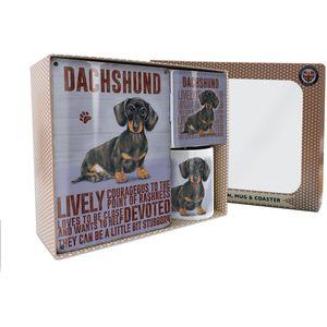 Metal Sign Mug & Coaster Boxed Gift Set - Dachshund Dog
