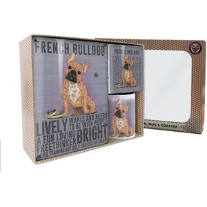 Metal Sign Mug & Coaster Boxed Gift Set - French Bulldog Dog