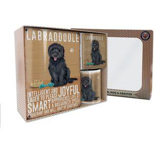 Metal Sign Mug & Coaster Boxed Gift Set - Black Labradoodle Dog
