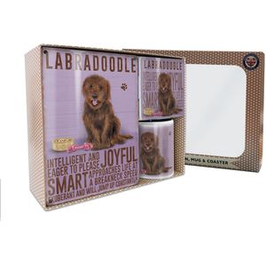 Metal Sign Mug & Coaster Boxed Gift Set - Brown Labradoodle Dog
