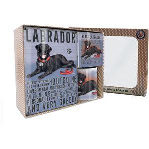 Metal Sign Mug & Coaster Boxed Gift Set - Black Labrador Dog