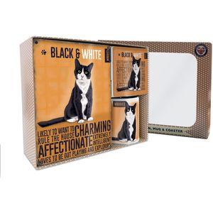 Metal Sign Mug & Coaster Boxed Gift Set - Black & White Cat