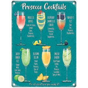 Metal Sign 30cm x 40cm - Prosecco Cocktails