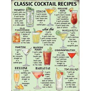 Metal Sign 30cm x 40cm - Classic Cocktail Recipes