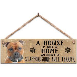 Wooden Sign - Staffordshire Bull Terrier Dog