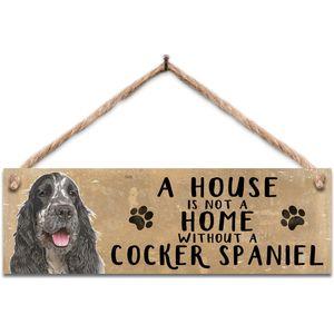 Wooden Sign - Black & White Cocker Spaniel Dog
