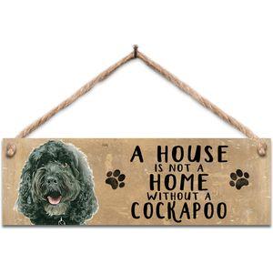 Wooden Sign - Black Cockapoo Dog