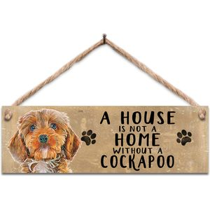 Wooden Sign - Brown Cockapoo Dog