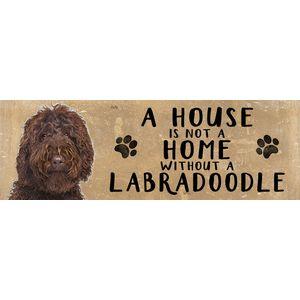 Wooden Sign - Brown Labradoodle Dog