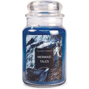 Village Candle Fantasy Collection Large Jar with Glass Dome Lid - Mermaid Tales