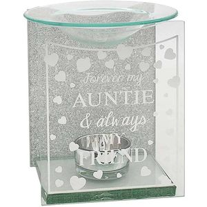 Glass & Silver Glitter Wax Melt/Oil Burner - Forever my Auntie