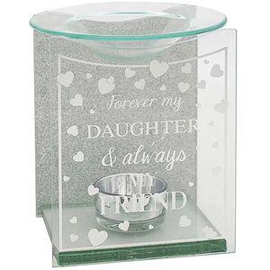 Glass & Silver Glitter Wax Melt/Oil Burner - Forever my Daughter