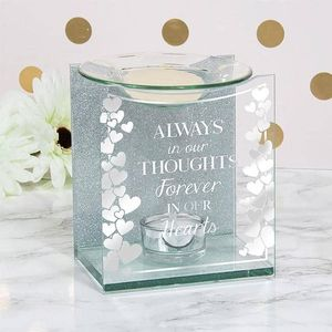 Glass & Silver Glitter Wax Melt/Oil Burner - Always In Our Thoughts