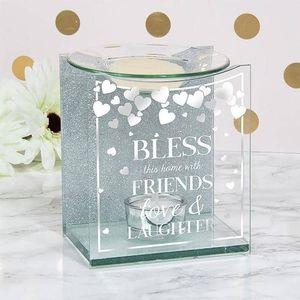 Glass & Silver Glitter Wax Melt/Oil Burner - Bless this Home