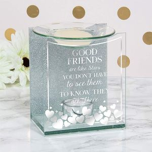 Glass & Silver Glitter Wax Melt/Oil Burner - Good Friends