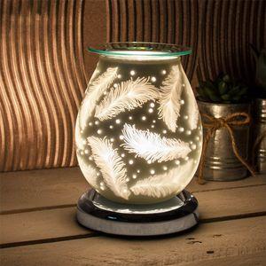 Desire Electric Aroma Lamp Wax Melt Burner - White Satin Feathers