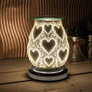 Desire Electric Aroma Lamp Wax Melt Burner - White Satin Hearts