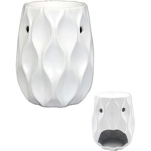 Ceramic Wave Wax Melt Warmer/Oil Burner - White