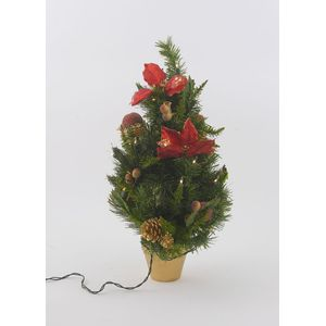 Light Up Poinsettia Mini Christmas Tree (64cm)