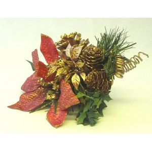 x4 Organza Poinsettia with Bronze Glitter Floral Pick