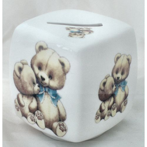 China Money Box Brown Teddy with blue bow tie design