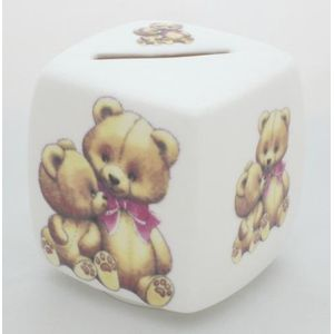 Teddy Wearing Pink Ribbon China Money Box