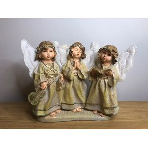 3 Angels singing Gold finish