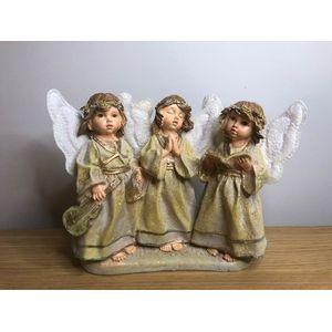 Christmas Decoration - Three Choir Angels Figurine (Gold Finish)