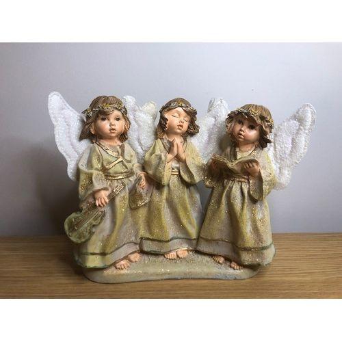 3 Choir Angels Figurine in gold finish
