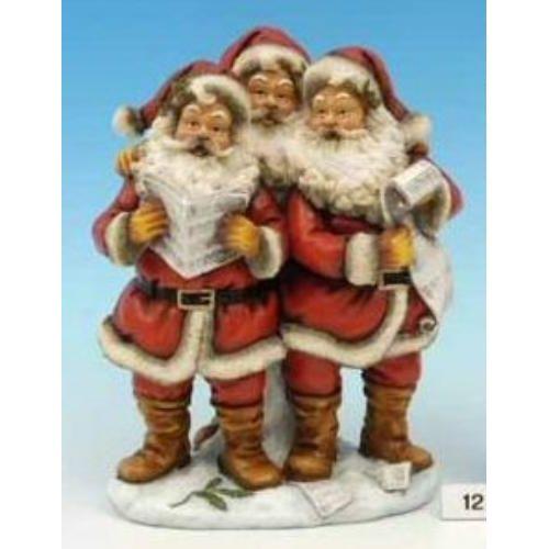 Three Singing Santas Christmas Figurine Ornament Room Decoration