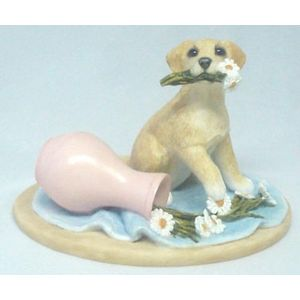 Labrador Puppy with Vase of Flowers Figurine