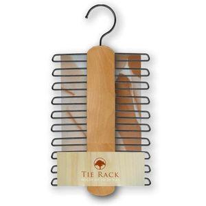 Mens Wardrobe Organiser Hanging Tie Rack - Natural Wood