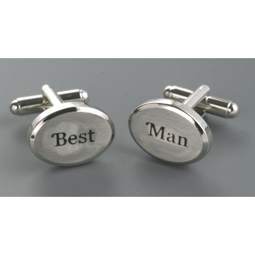 Best man Cufflinks brushed silver finish engraved with black text