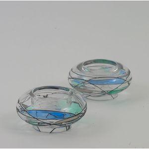 Star Glass Blue Moon Collection - Tea Light Holders Set of 2