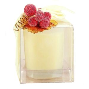 Wax Lyrical Vanilla Scented Candle in Glass Pot with Red Berries Trim