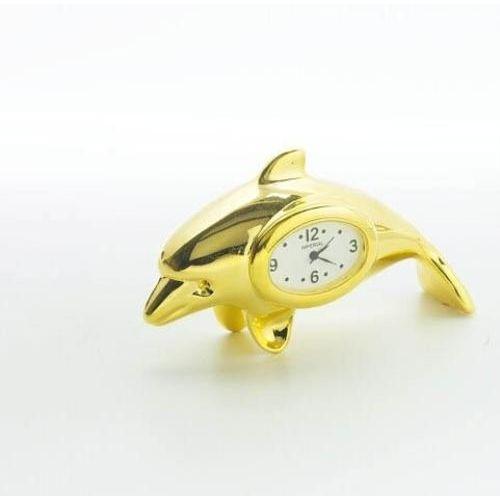 Gold Dolphin miniature desk top Clock