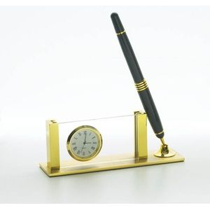 Desk Clock with Black and Gold Coloured Pen