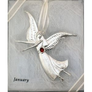 Birthstone Angel Pin - January