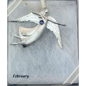 Birthstone Angel Pin - February