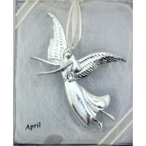 Birthstone Angel Pin - April