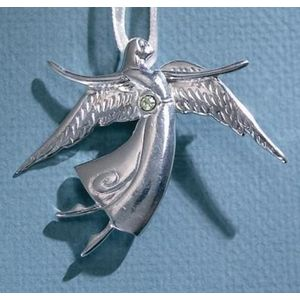 Birthstone Angel Pin - August